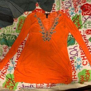 Orange Boho blouse